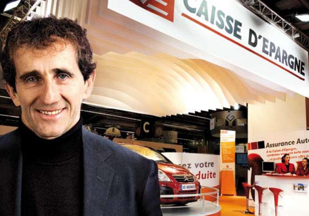 Alain Prost sur le stand Caisse d'Epargne
